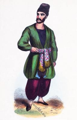 Armenian merchant costume. Traditional Armenia clothing. Asian dress