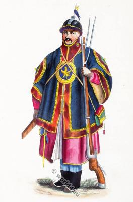 Chinese soldier costume. Traditional China military clothing. Asian army dress