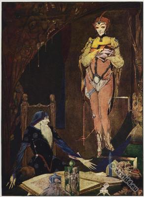 Goethe Faust. Fantasy costume design. Harry Clarke, Illustration.