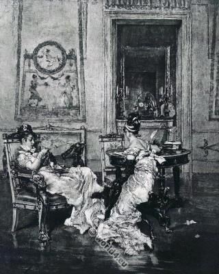 First empire costumes. French 19th century fashion. Giovanni Boldini