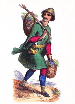 Traditional Mingrelian Georgian costume. Samegrelo clothing. Asian dress