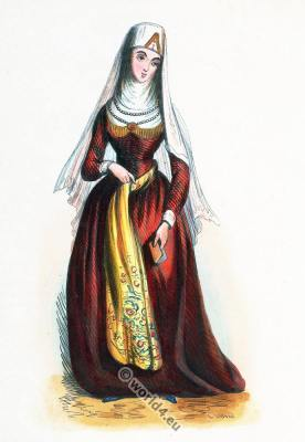 Traditional Georgian woman costume.  Georgia clothing. Asian dress