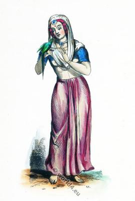 Himalaya Mountains costume. Traditional India clothing. Asian dress