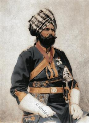 Indian Ressaldar military costume. India Bengal Captain dress of cavalry.