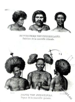 Traditional Indonesia Papua New Guinea warriors costumes. Asian tribal tattoos and clothing.