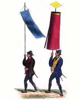 Japanese Parasol standard bearer costumes. Traditional Japan clothing. Asian army dress