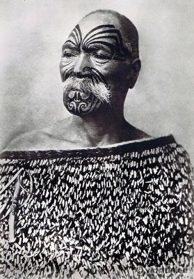 Maori Warrior Tattoo. New Zealand tribal costumes. Paul Gooding