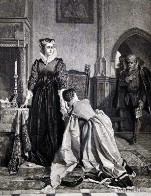Mary Stuart, Queen of Scots. Tudor fashion era.