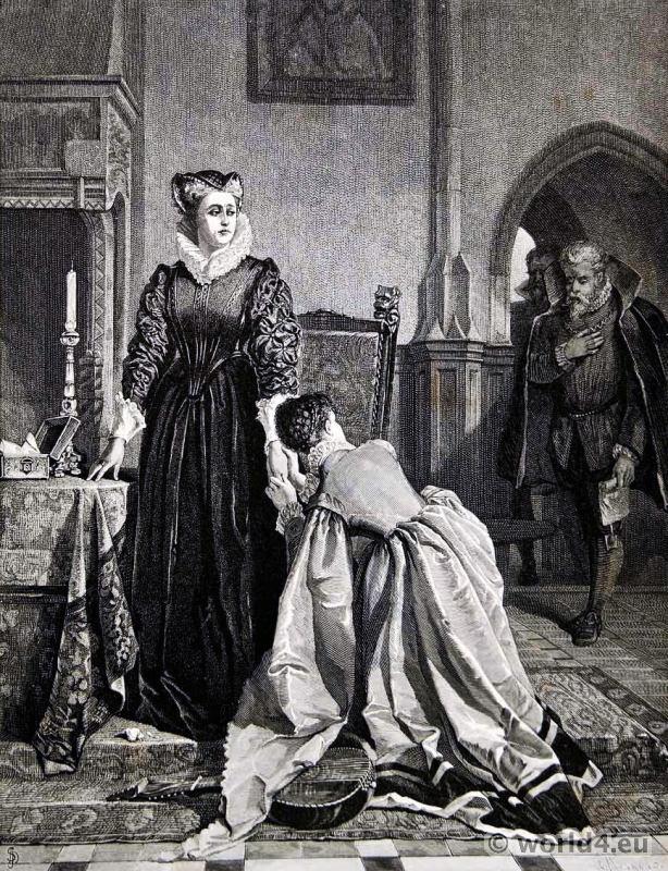 Mary Stuart, Queen of Scots. England tudor costumes.