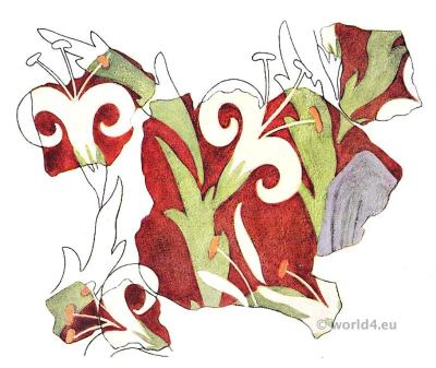 Painted Plaster with lily sprays. Palace of Knossos. Minoan culture. Ancient greek fresco.