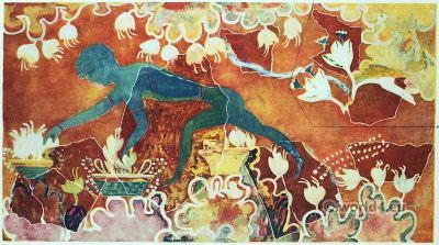 The Saffron Gatherer Fresco. Palace of Knossos. Ancient Minoan culture.