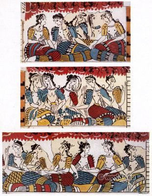 Seated Ladies on Grand Stand. Palace of Knossos. Ancient Minoan culture. Antique greek fresco.
