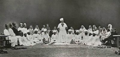 Parsee Ceremony. Investiture Sudra, Kusti. Parsi costumes. Zoroastrianism India