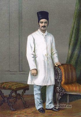 Parsi gentleman costume. Zoroastrianism in India. Traditional Parsee clothing.