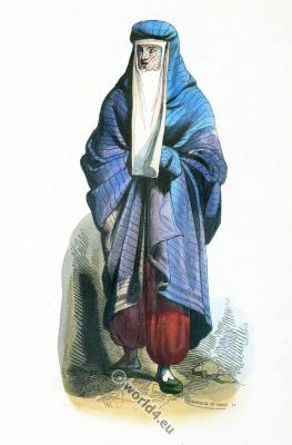 Traditional Persian woman costume. burka. برقع , Burqu,Barqa. Iran clothing.