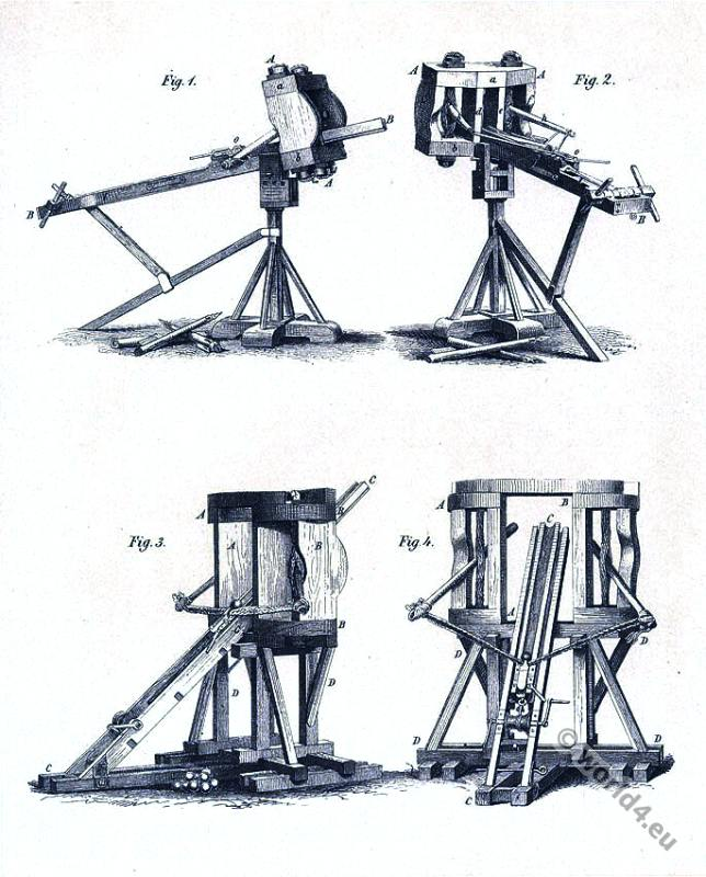 Roman heavy artillery. Ancient Military catapult. Weapons.