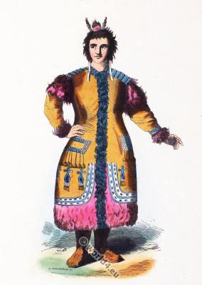 Traditional Yakutia Russia costume.  Republic of Sakha clothing.
