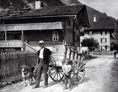 Swiss milkman costume. Traditional Switzerland folk dress.