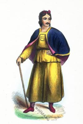 Traditional Tibet clothing. Tibetan costume. Ancient Asian dress