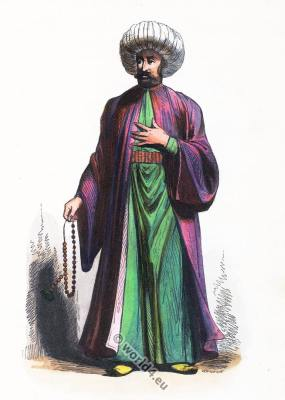 Imam costume Turkey. Ottoman Empire clothing. Ecclesiastical muslim rress