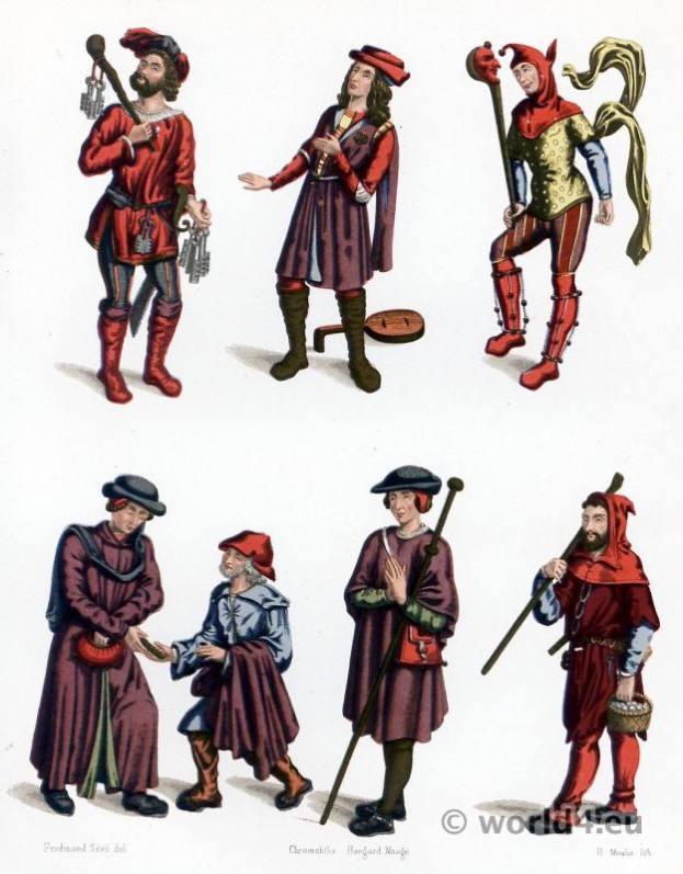15th century costumes. Gothic medieval france. Jailor costume; Menestrel costume, Fool costume, Bourgeois costume, Beggar costume, Pilgrim costume, Shepherd costume.