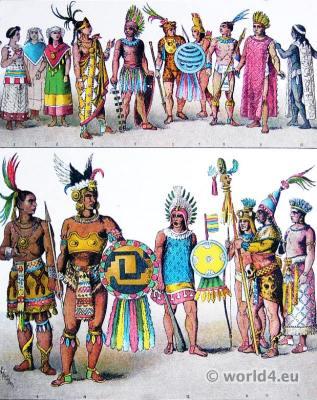 Ancient costumes Mexican Aztec. Hernán Cortés.