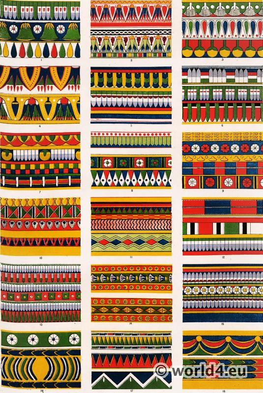 Ancient Egypt ornaments of tombs in Thebes, Karnak. Grammar of Ornament by Owen Jones.