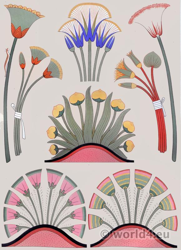 Ancient Egypt ornaments and decoration. Painting Plants & Flowers.