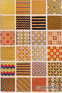 Ancient Egypt fabric samples. Paintings of tombs. Ancient Egypt ornaments. Grammar of Ornament by Owen Jones.