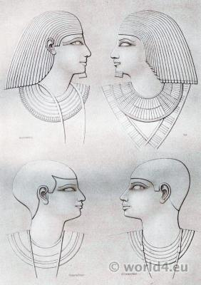 Ancient Egypt hairstyles from various periods.