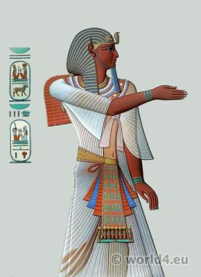 Ancient Egypt Pharaoh costume. Egyptian king Merenptah crown and dresses