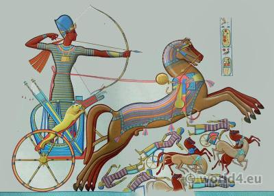 Ancient Egyptian costumes. Fighting Ramses Miamun Thebes - Ramesseum - 19th dynasty.