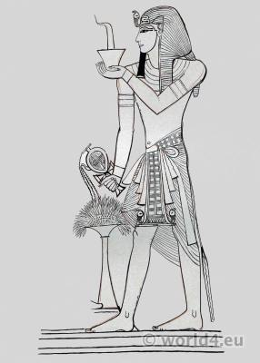 Ancient Egypt Pharaoh Seti I costume. Egyptian King crown.