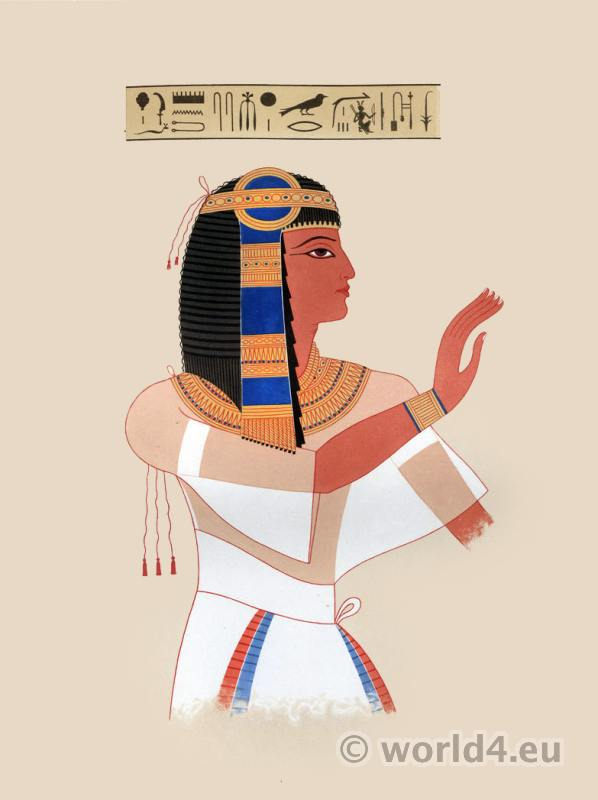 Ancient Egyptian Pharaoh costume. Antique Egypt decoration and paintings.