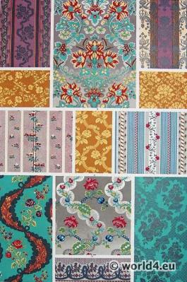 18th century fabrics. French Silks hanging patterns. Louis XVI style. Rococo period