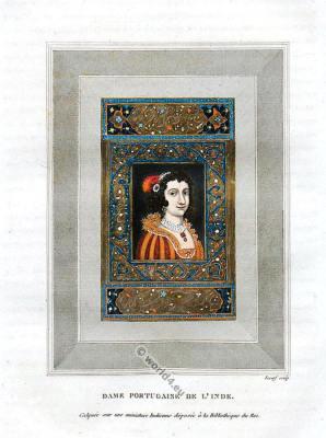 India Mughal miniature painting. Mogul Empire Art Scene. Portuguese costume.