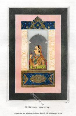 Indian Princess Costume. Mughal miniature painting.