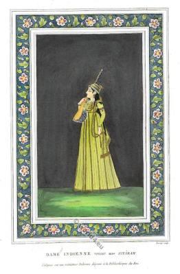 Sitara Mughal miniature painting. Mogul Empire Sitarah. Asia India Nobel Costume.