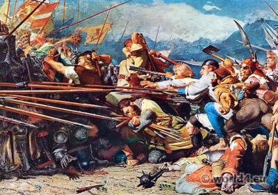 Arnold Winkelried. Medieval Battle scene. Sempach Switzerland. Konrad Grob.