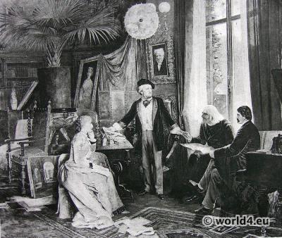 Portrait German composer Richard Wagner. Victorian costumes 19th century. Hanfstaengl