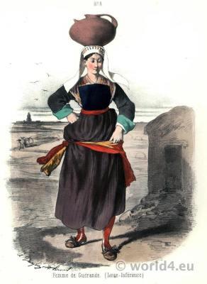 Traditional French national costumes. Region Western Loire folk dress.