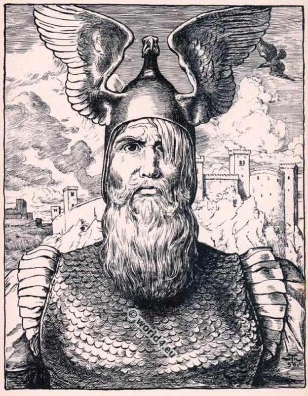 Wotan's head. Opera Costumes. The Ring Cycle. Ring des Nibelungen. Richard Wagner.