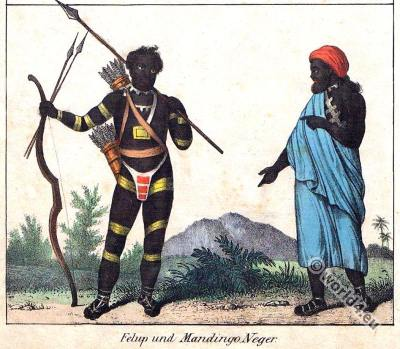 Senegal inhabitants. Traditional Africa costumes. Felup and Mandingo clothing..