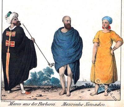 Berber costumes. Traditional Algeria dress. Moorish nomads. Berbère