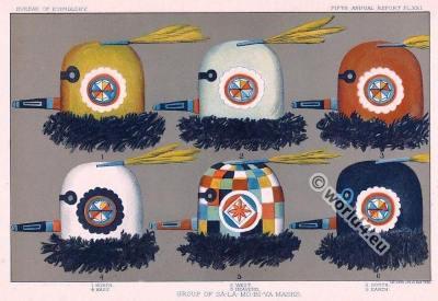 American natives. Zuni masks. The Religious Life of the Zuni Child