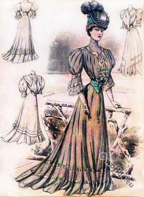 Art nouveau fashion. Sans-Ventre-Corset. Belle Époque costumes.