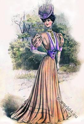 Art nouveau fashion. Belle Époque fashion.