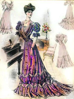 Art nouveau fashion. Sans-Ventre-line costumes. Belle Époque society fashion.