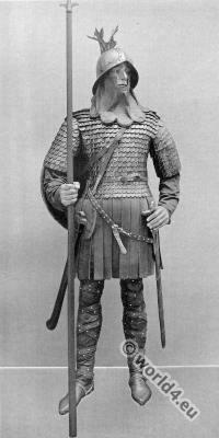 Carolingian costume. Frankish Warrior.