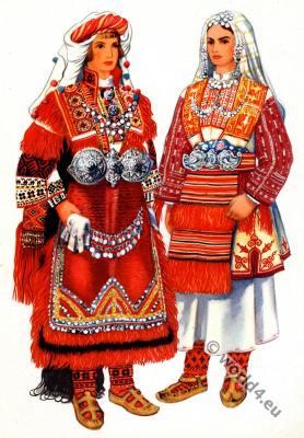 Macedonian national costumes. Serbian national costumes.